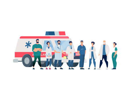 healthcare workers standing in front of an ambulance